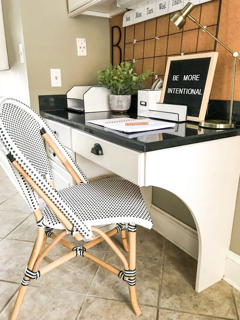 black white and wood desk chair