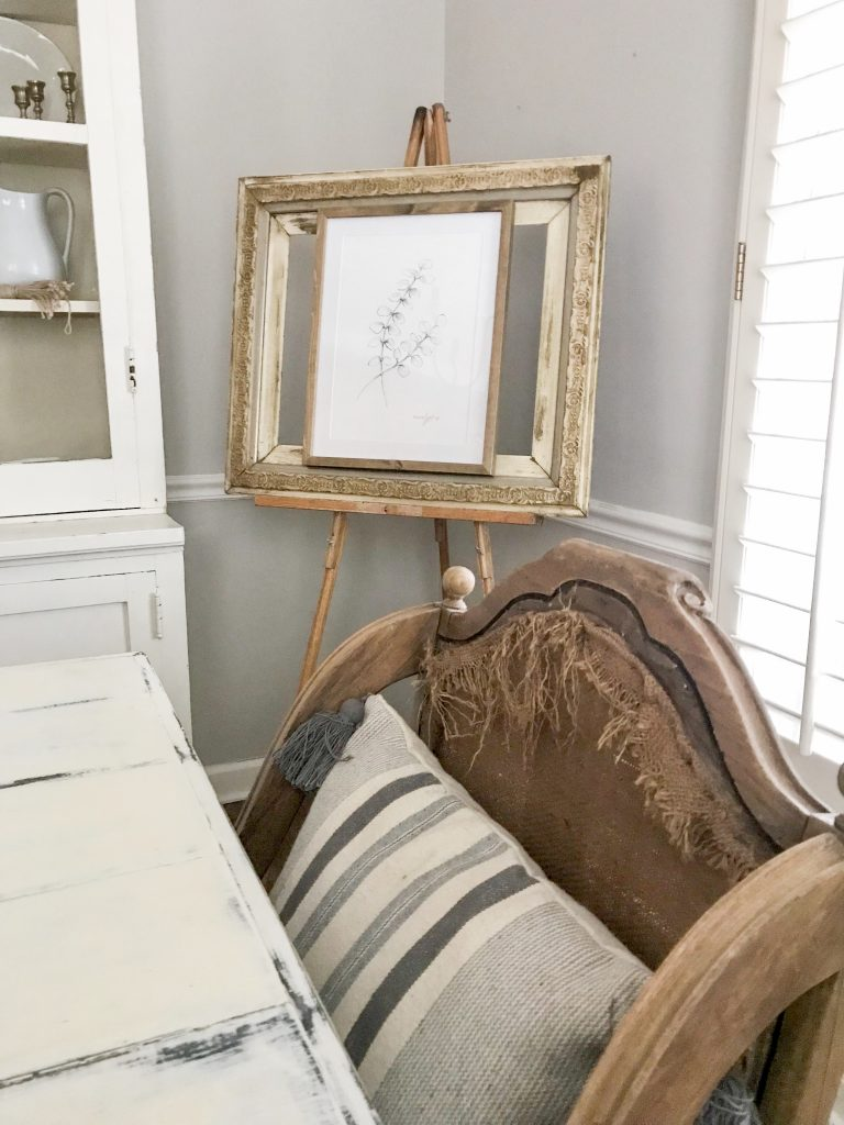 antique chair and frame