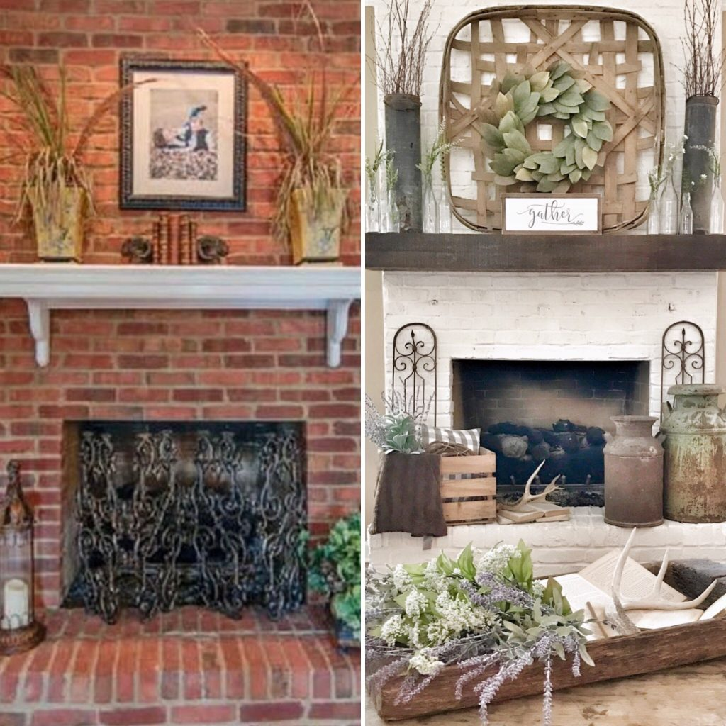 side by side before and after how to paint brick fireplace