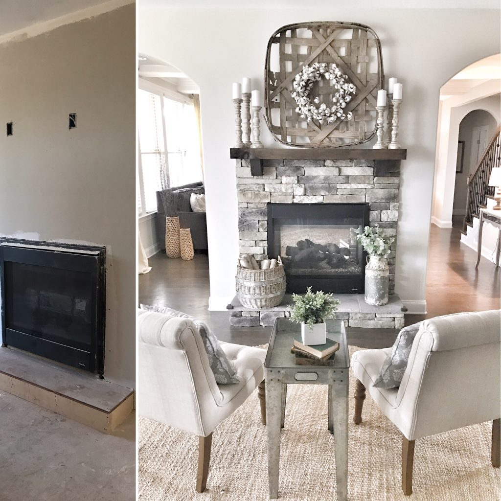 before and after kitchen fireplace