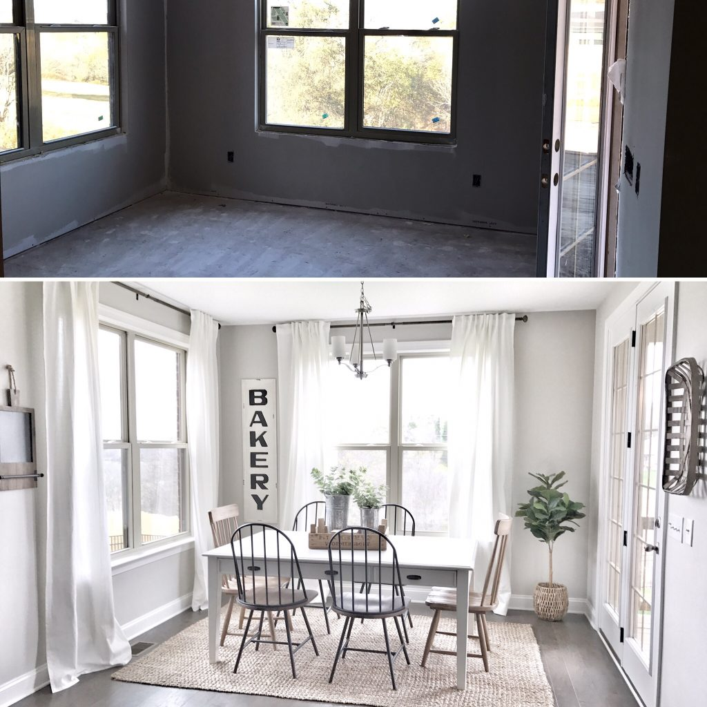before and after breakfast nook