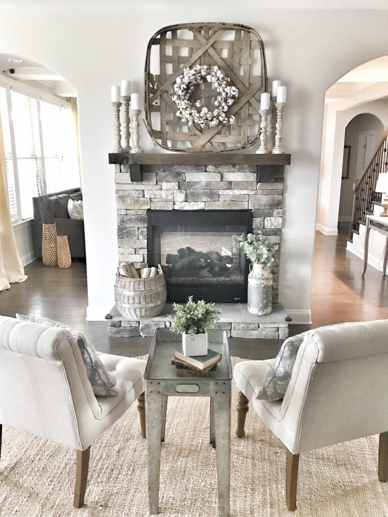 fireplace with tobacco basket on mantel