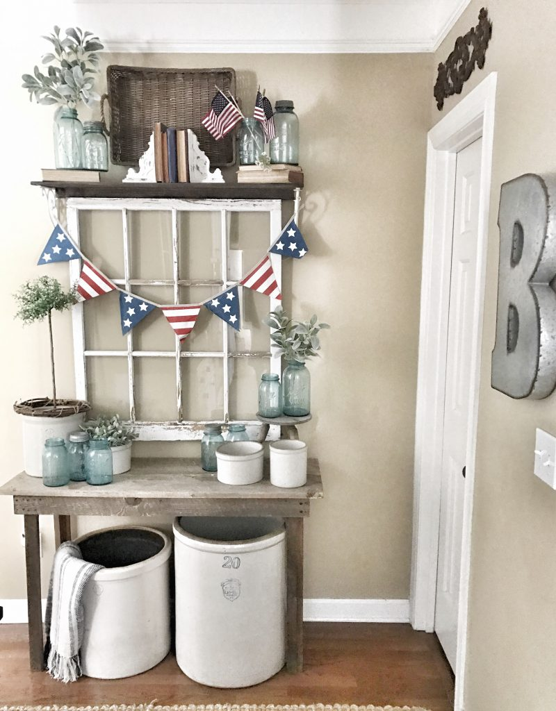 hallway view 4th of july decor