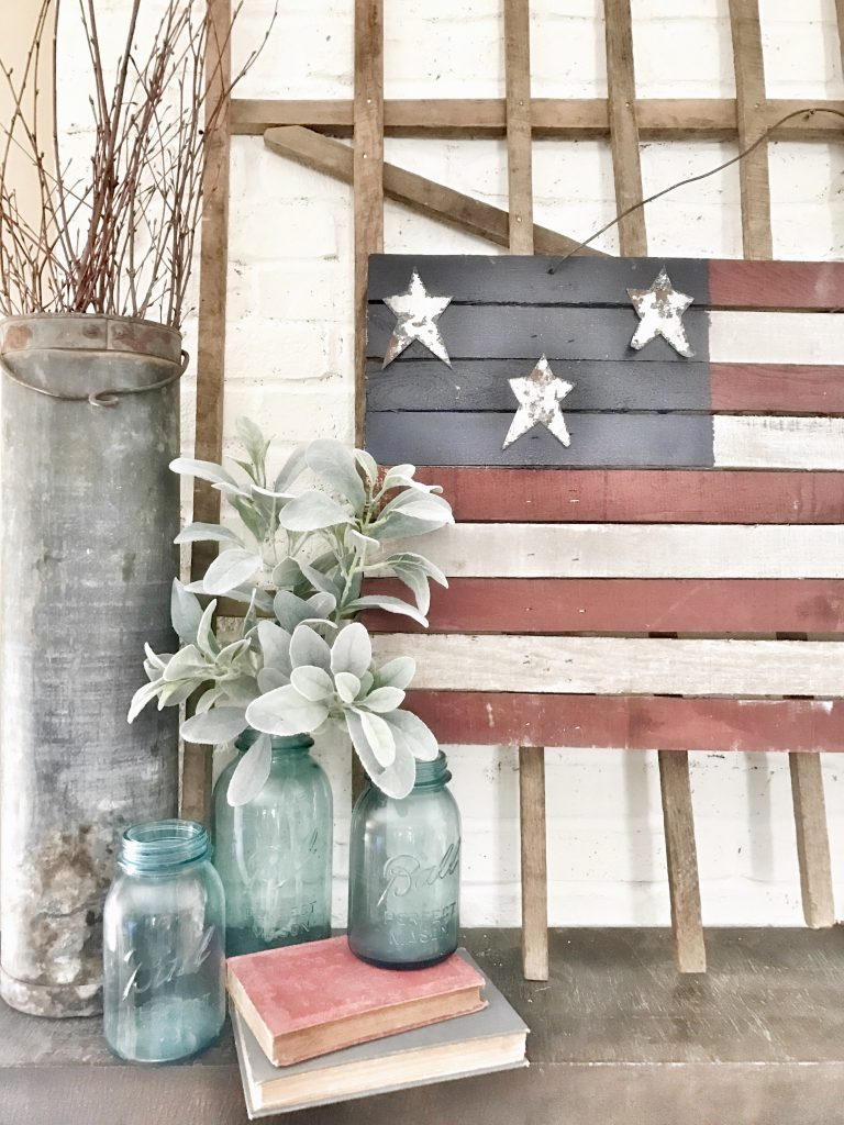 painted rustic wooden us flag