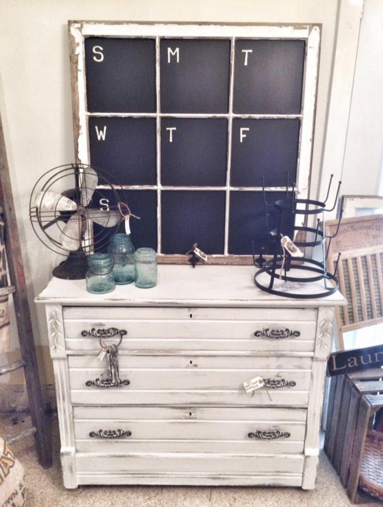 window chalkboard sitting on dresser