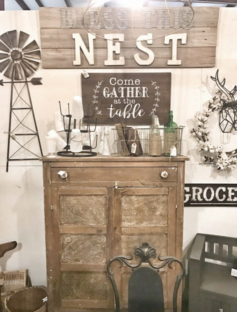 vintage chest and bless this nest sign