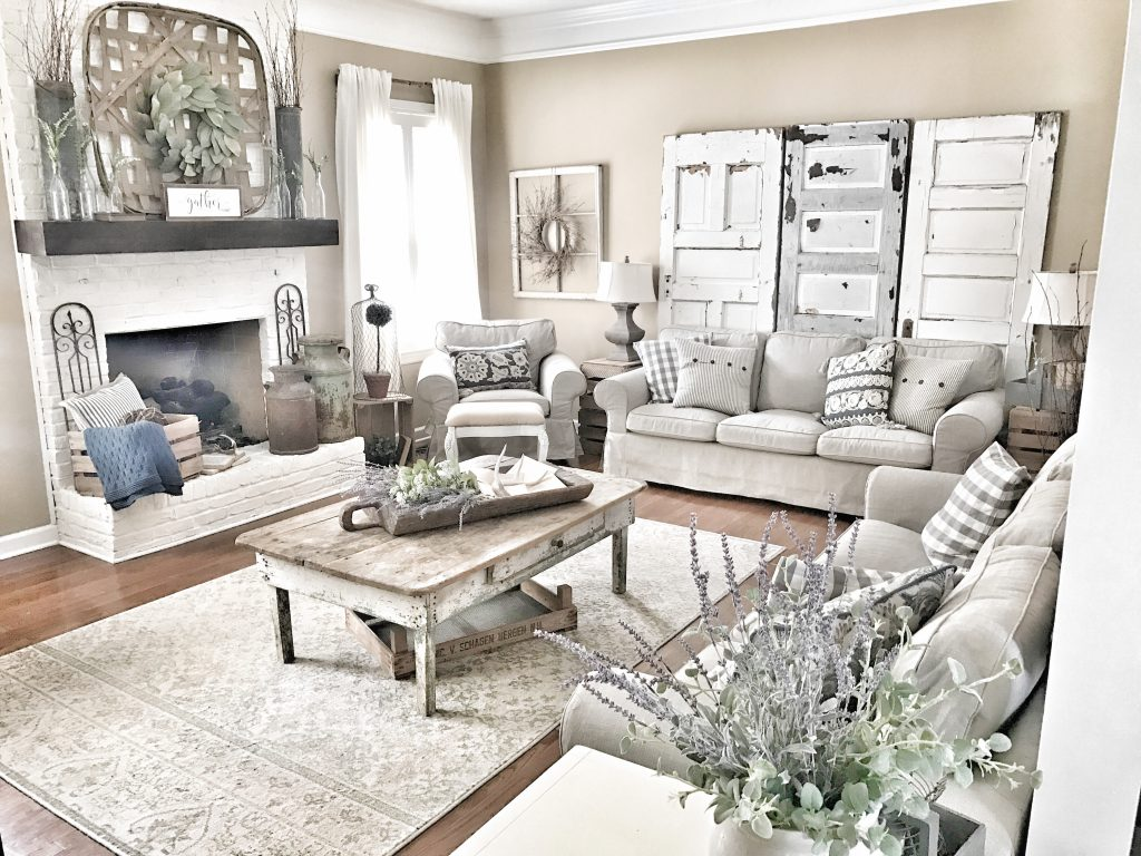 farmhouse style living room makeover
