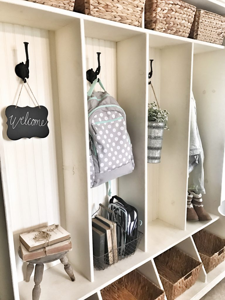 close up of cubbies and baskets