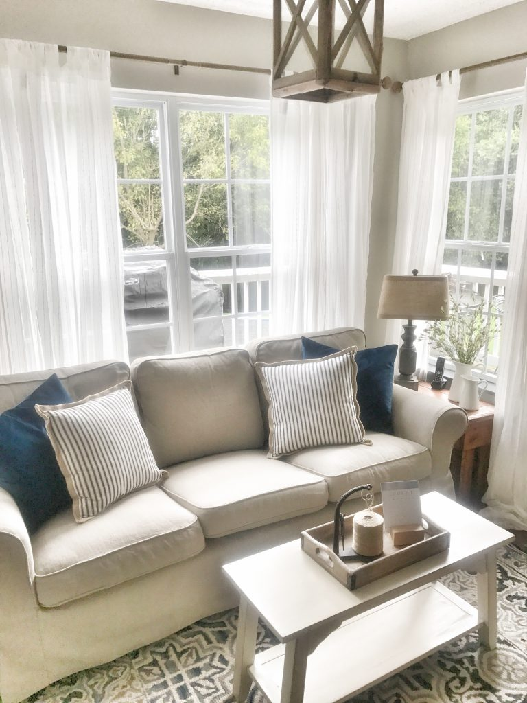 beige sofa in bright living room