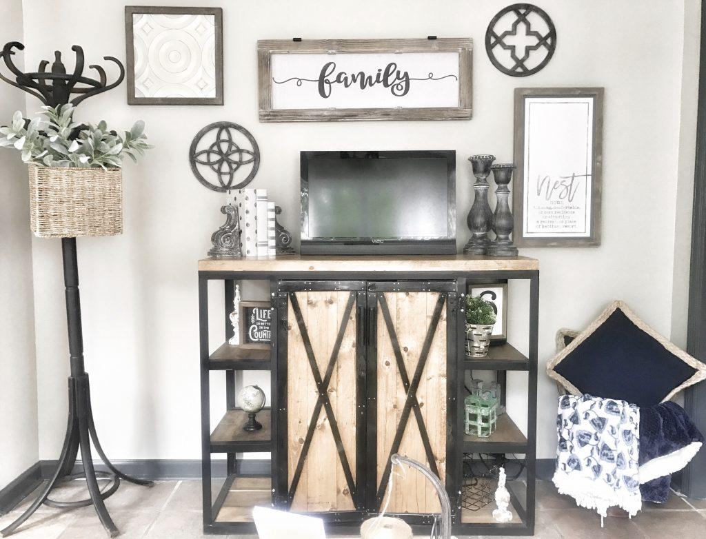 farmhouse style living room tv area