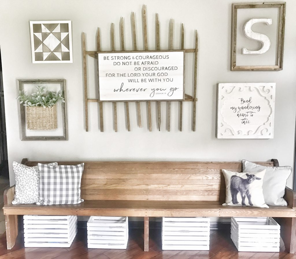 collage wall with farmhouse decor