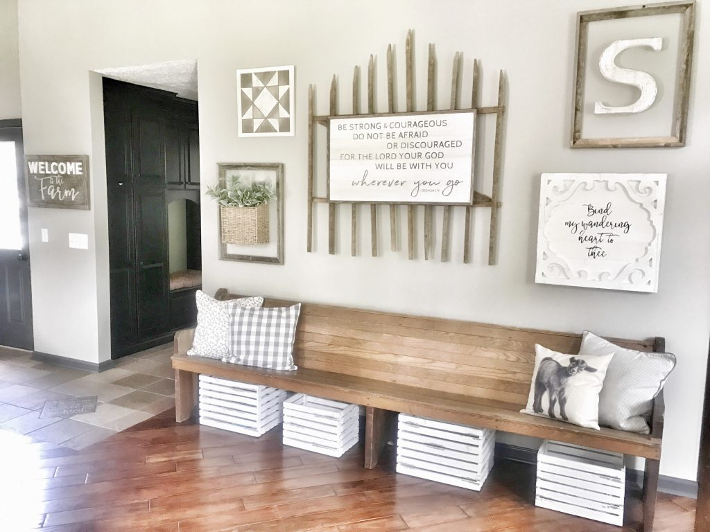 wooden bench wall with farmhouse decor