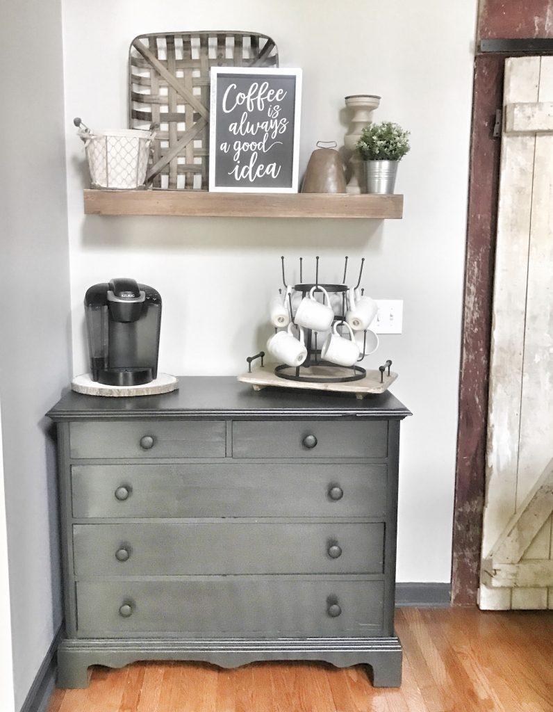 coffee bar in farmhouse kitchen