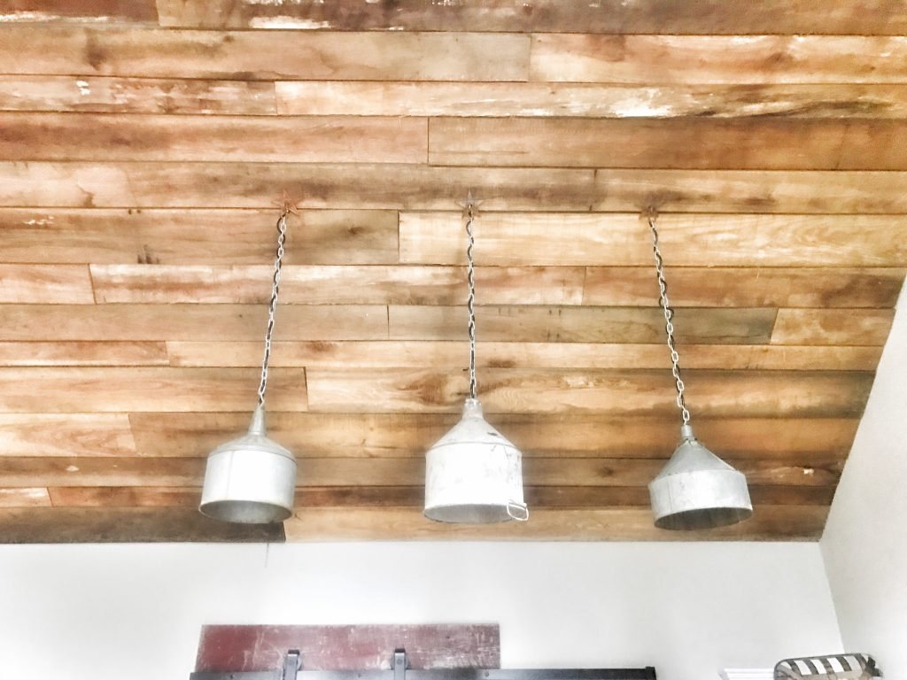 wooden ceiling and light fixture