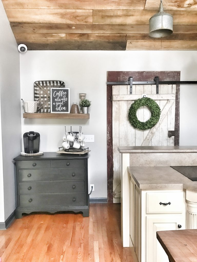 farmhouse style kitchen and dining room barn door