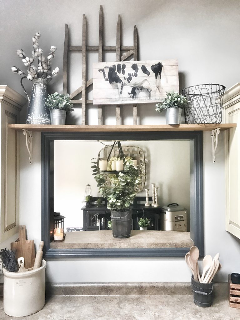 kitchen window with farmhouse decor
