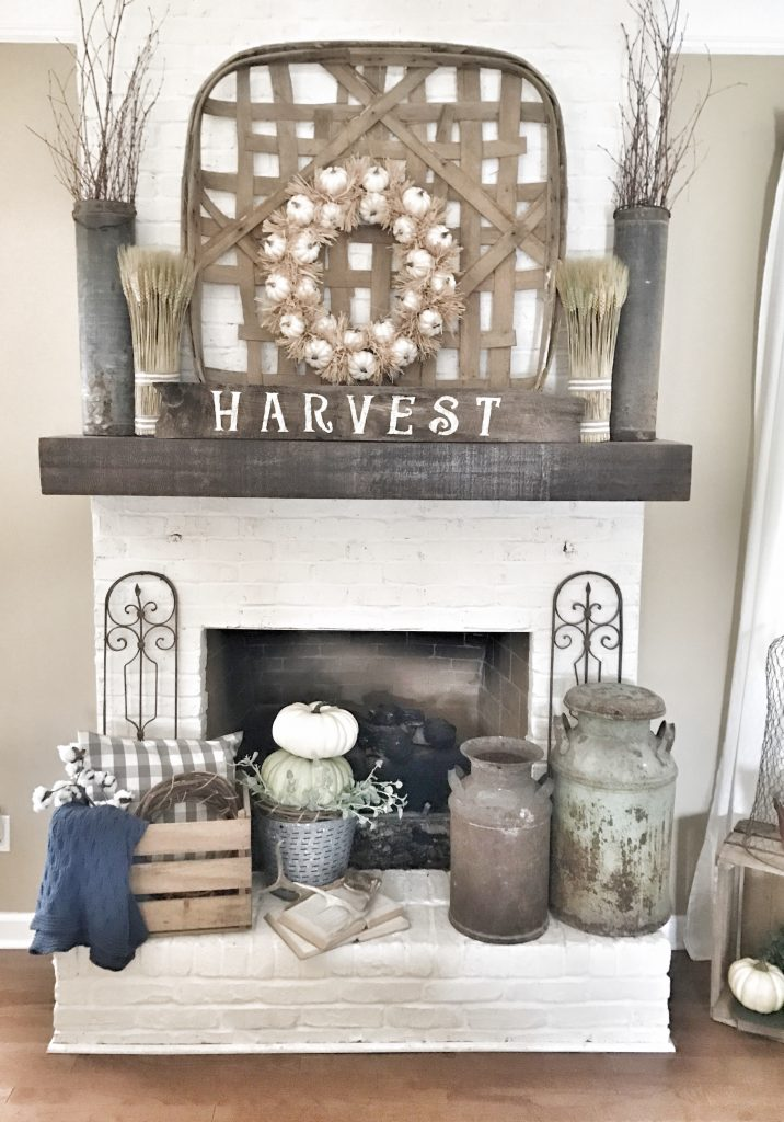 farmhouse fall home tour fireplace close up