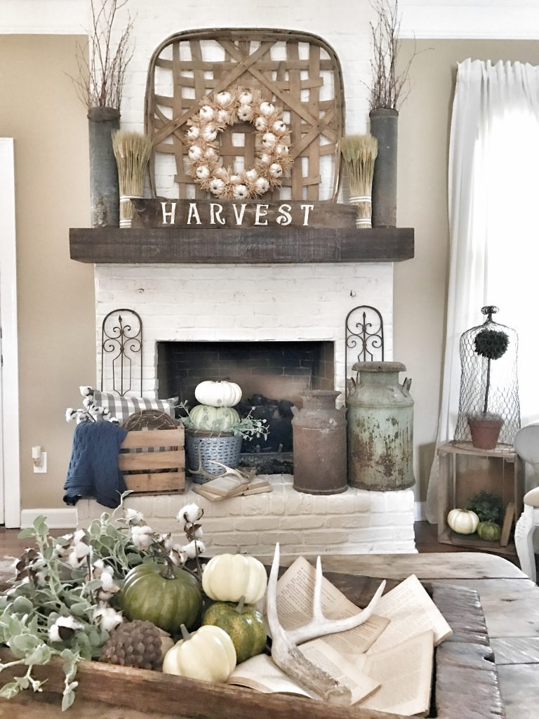 farmhouse fall home tour fireplace