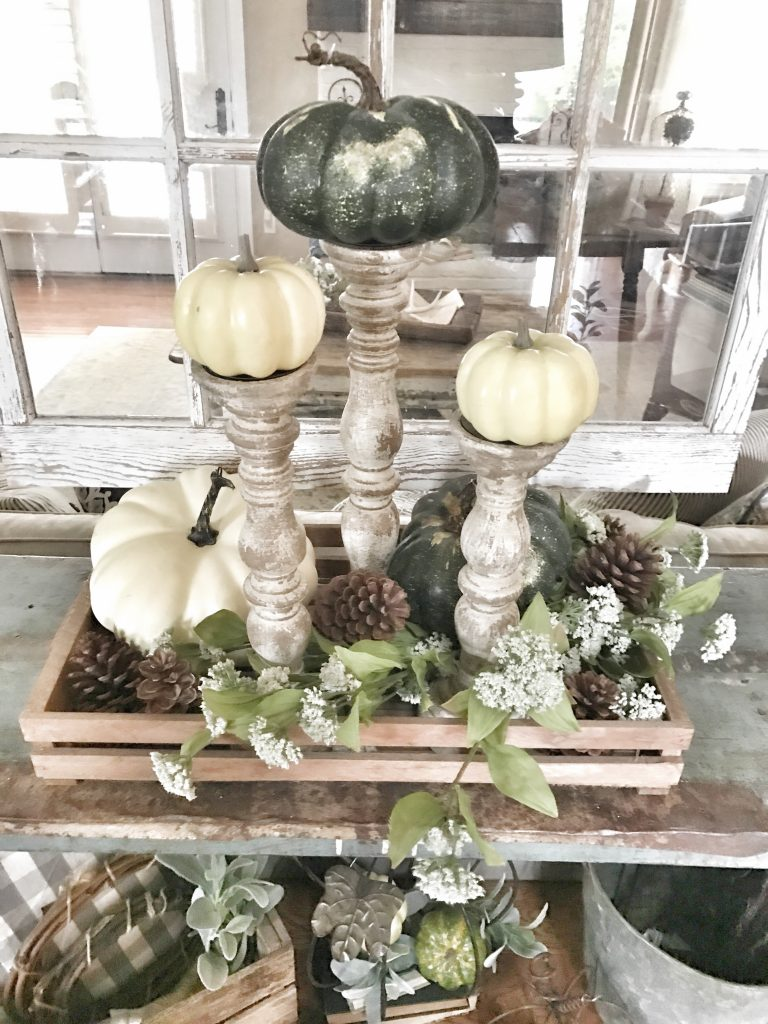 farmhouse fall console table decor