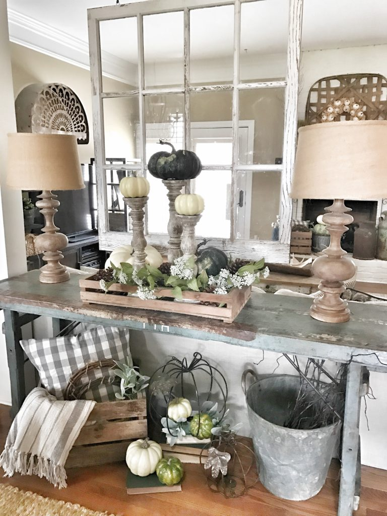 farmhouse fall home tour console table