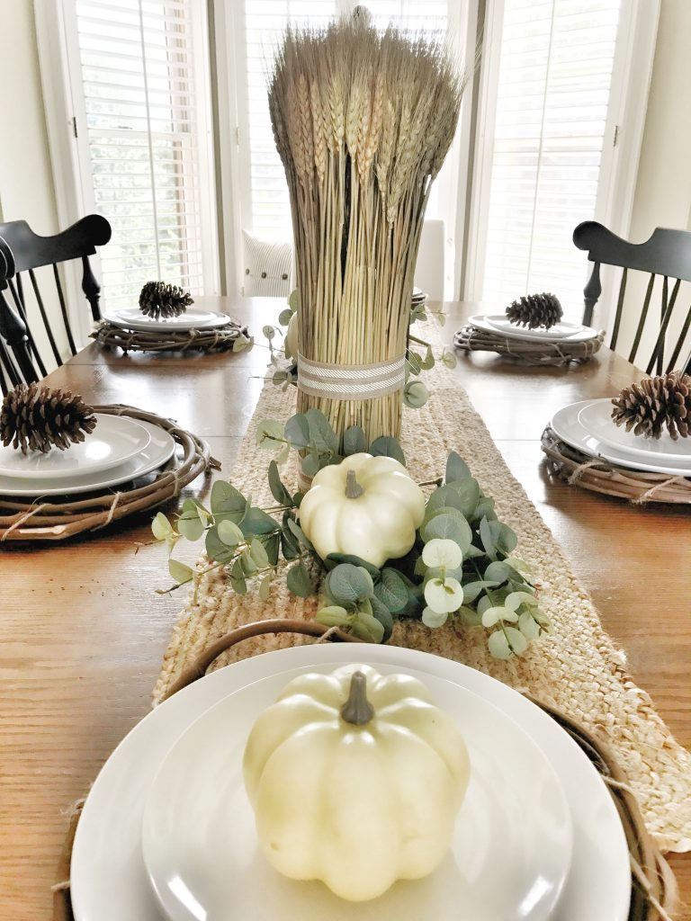 farmhouse fall kitchen table centerpiece