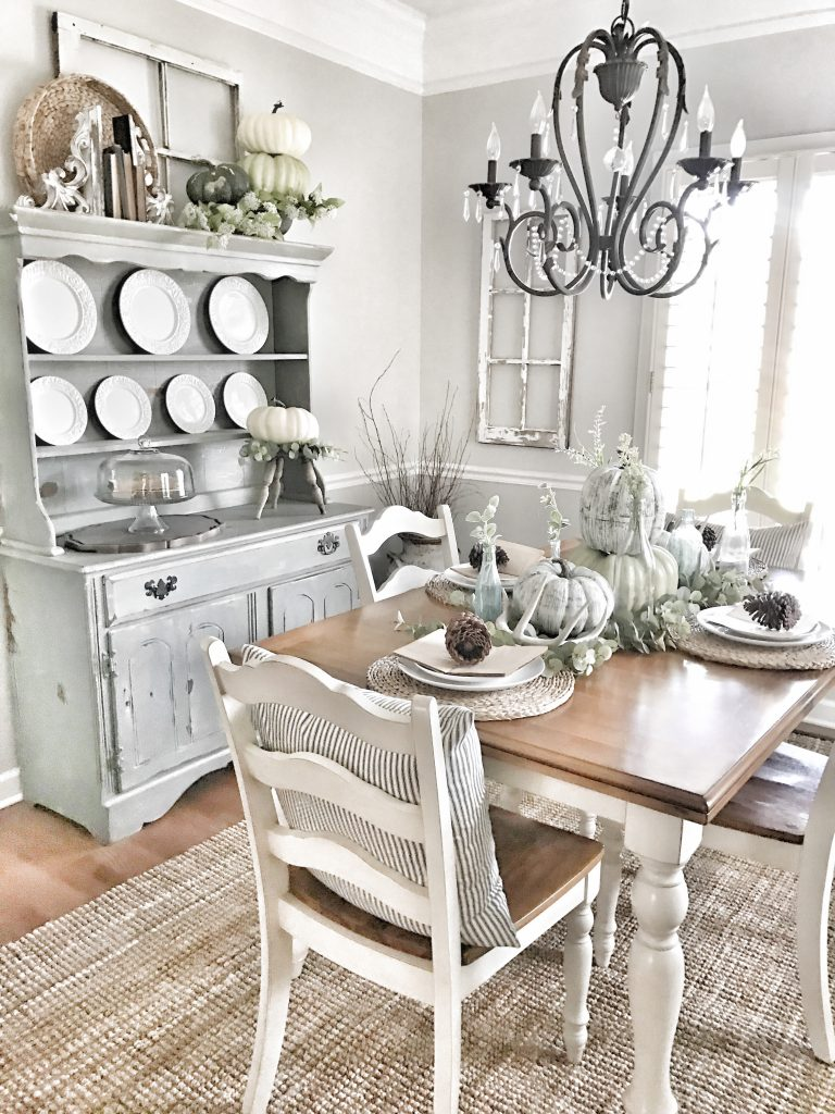 dining room decorated for fall