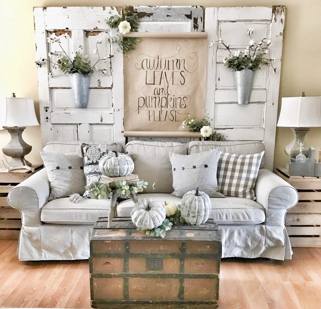 finished scroll sign hung in farmhouse living room