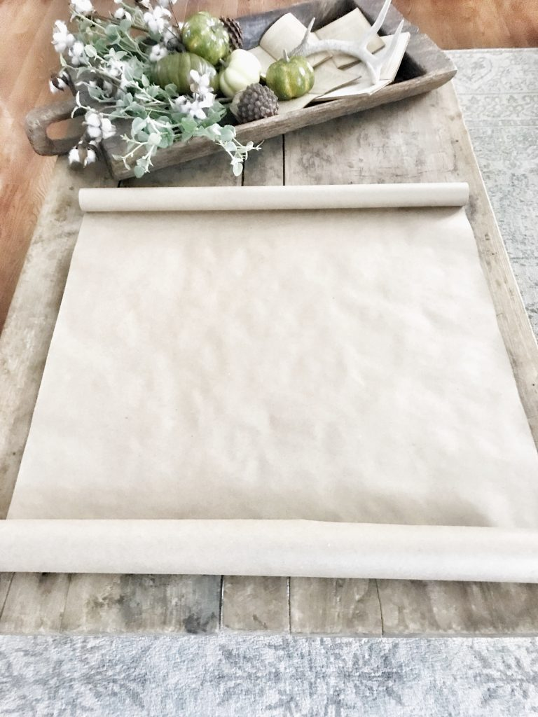 blank scroll sign on table