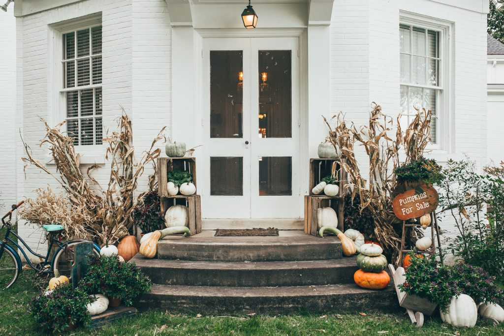 front porch with fall decor