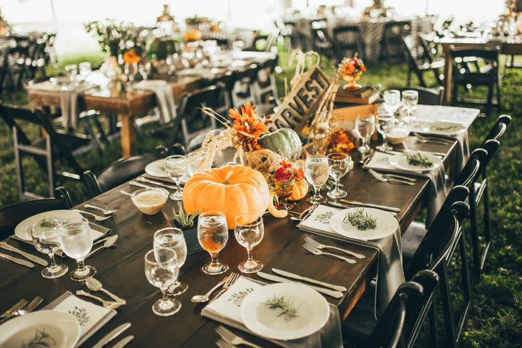 table decorated with fall decor