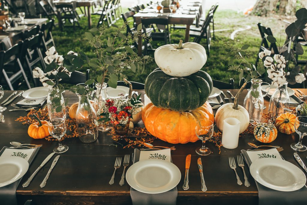 fall centerpiece with stack pumpkins
