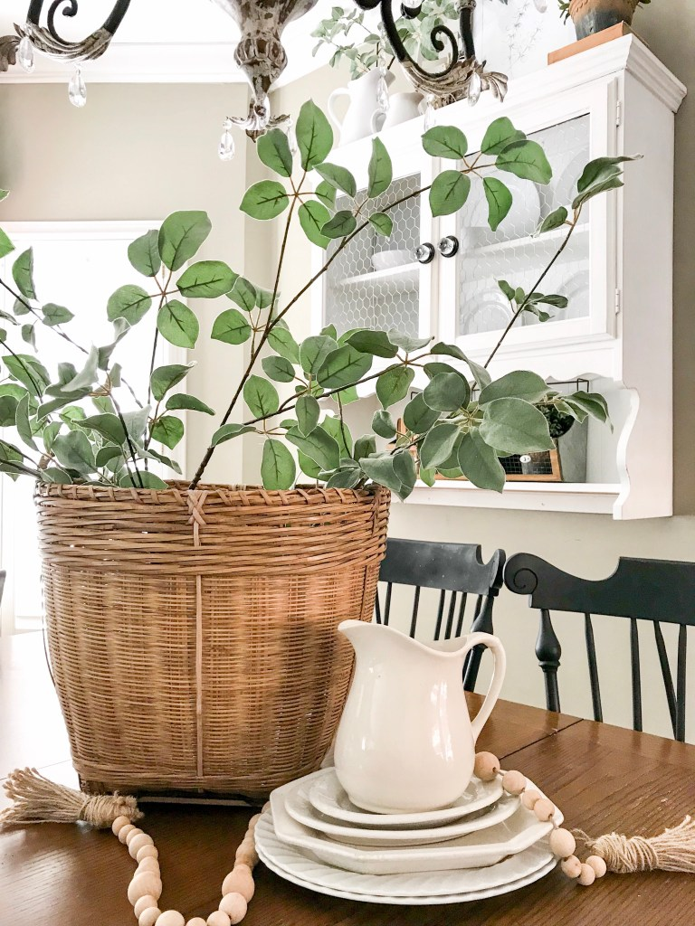basket with greenery