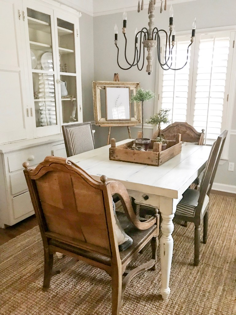 antique chairs in dining room