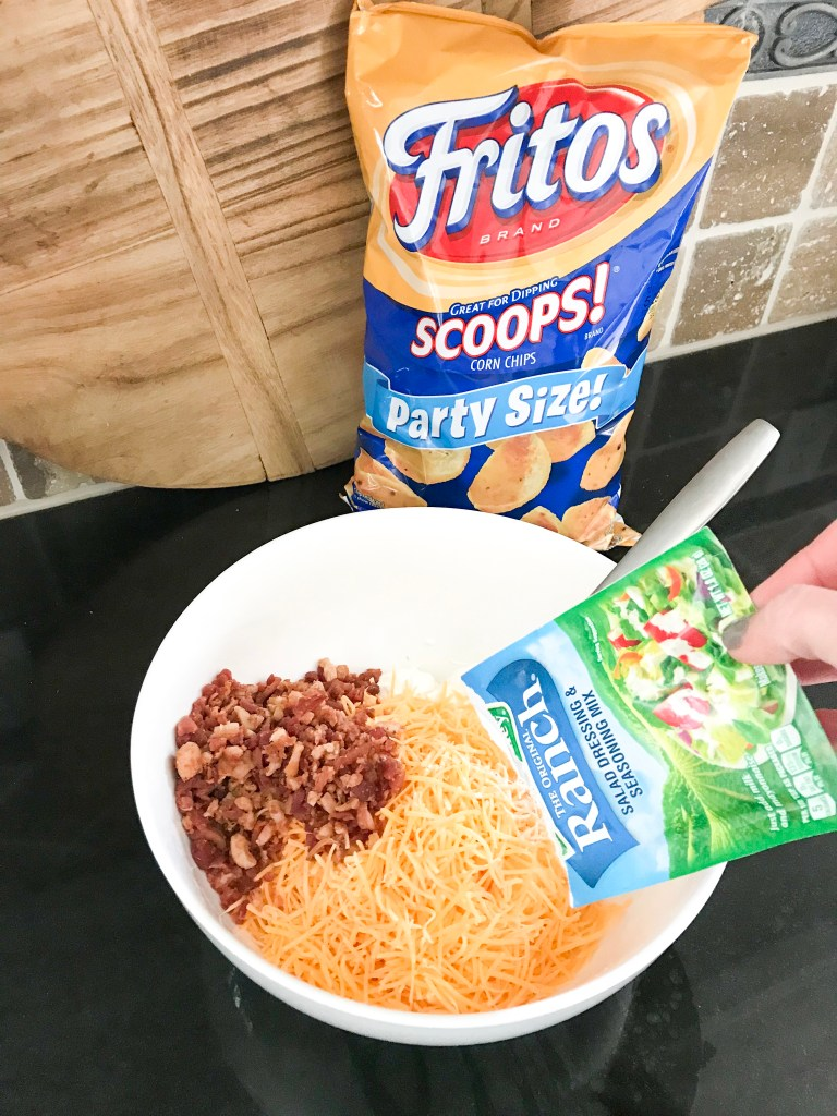 mixing ingredients together in bowl