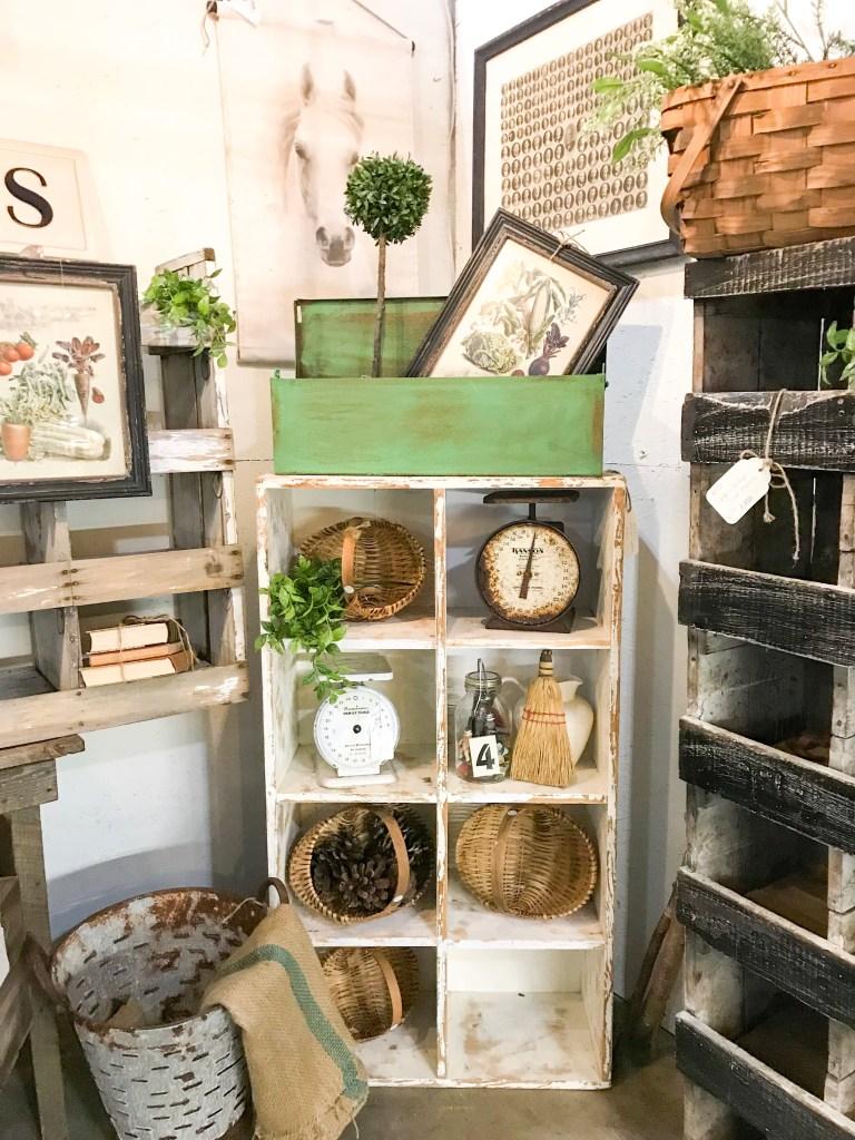 distressed white wooden shelf