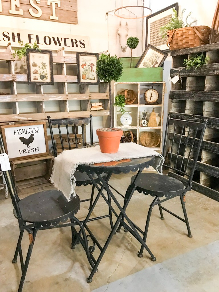 small black table in antique booth