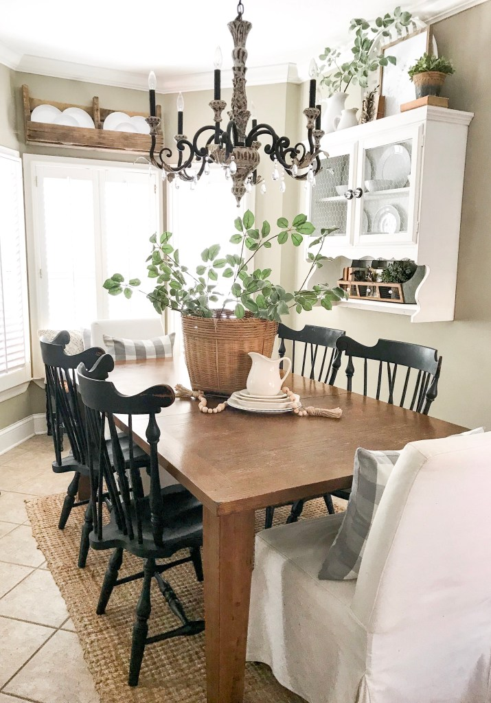 kitchen table with basket and white plates