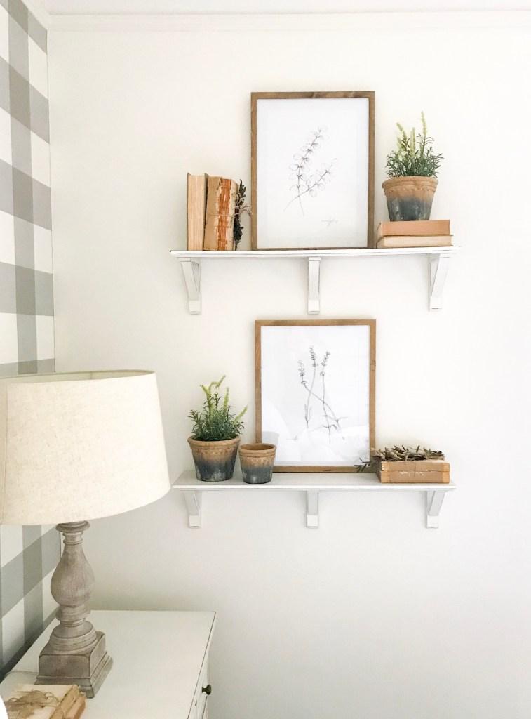 Ikea plants on shelves in bedroom