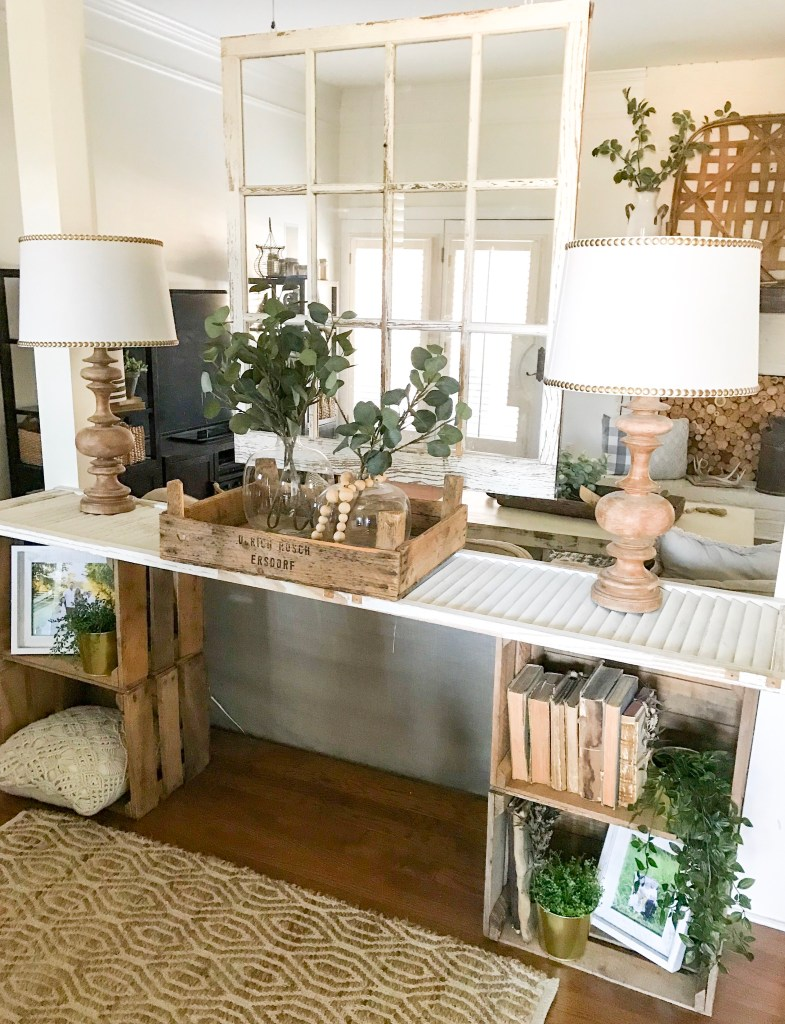 console table with Ikea plants
