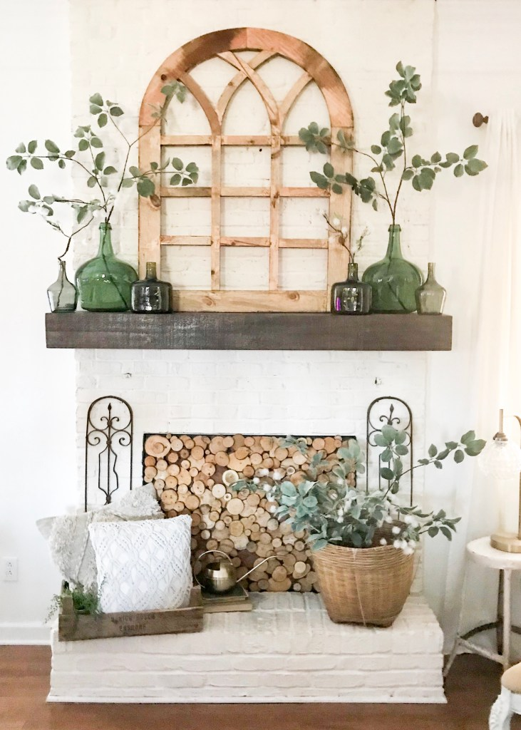 farmhouse spring time mantel decor