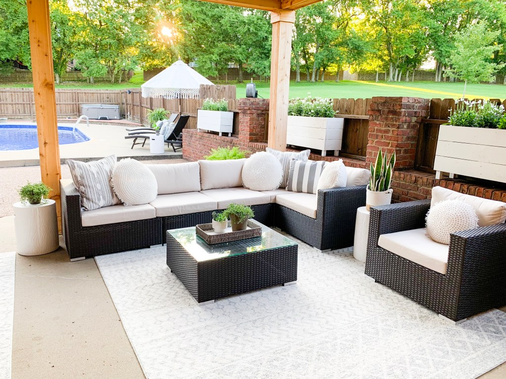 outdoor living space sectional reveal photo