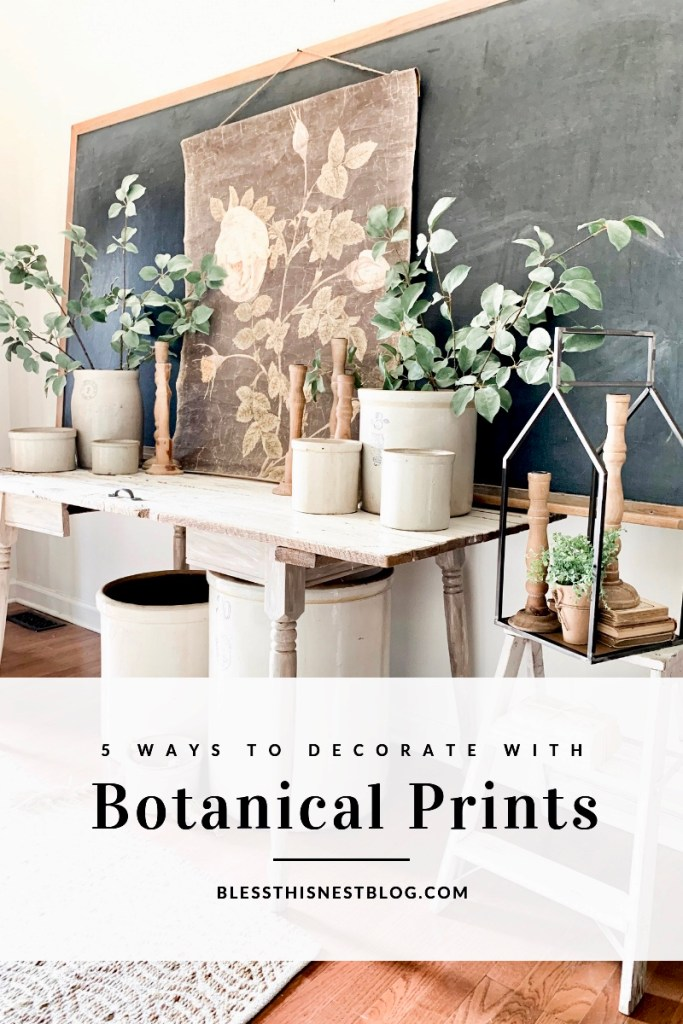 Entryway table and large botanical print as the focal point banner