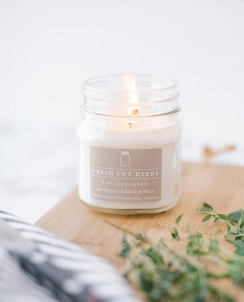 fresh cut herbs candle