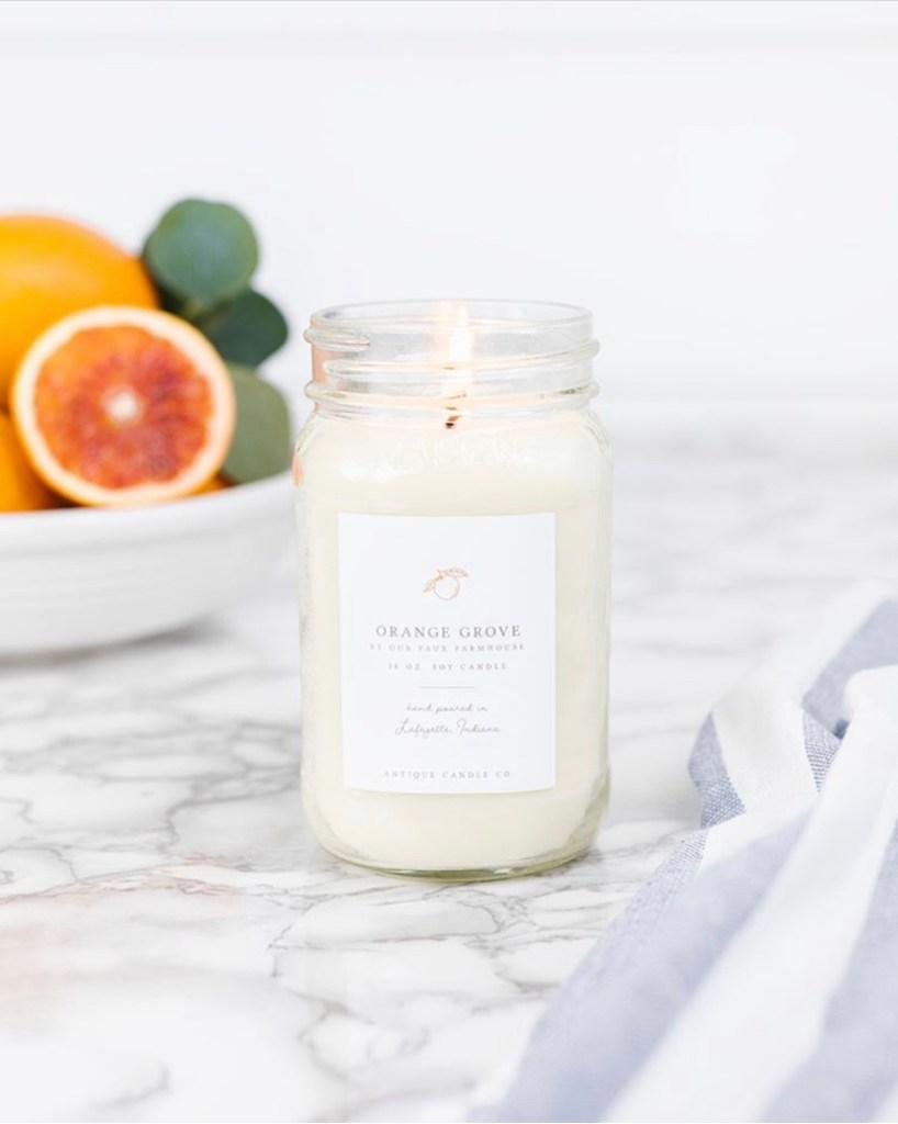 orange grove candle burning