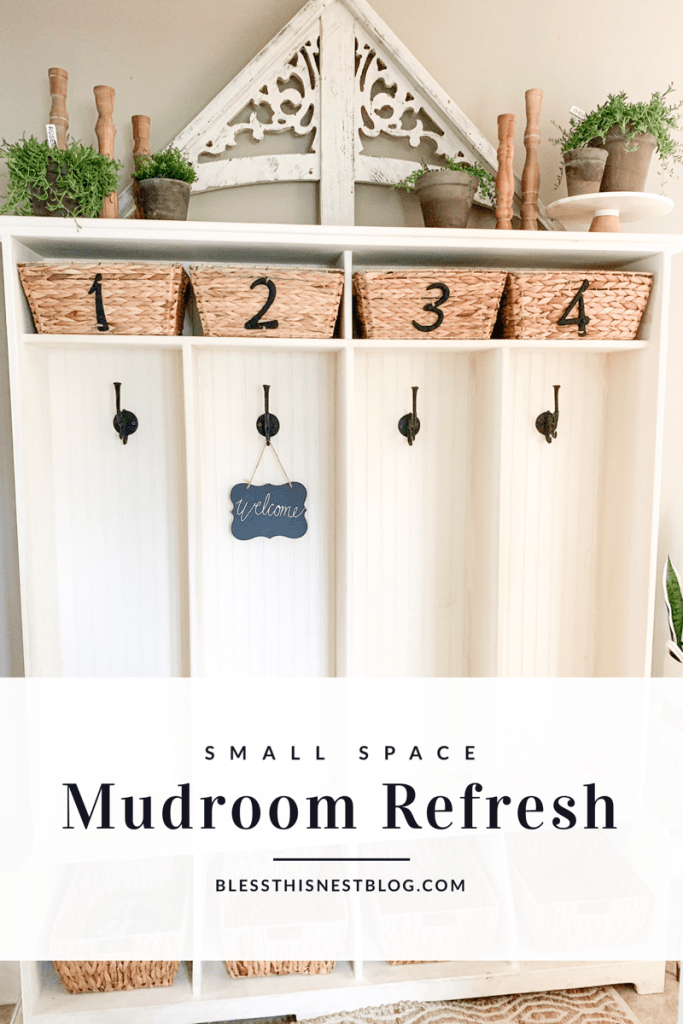 small space mudroom refresh blog banner