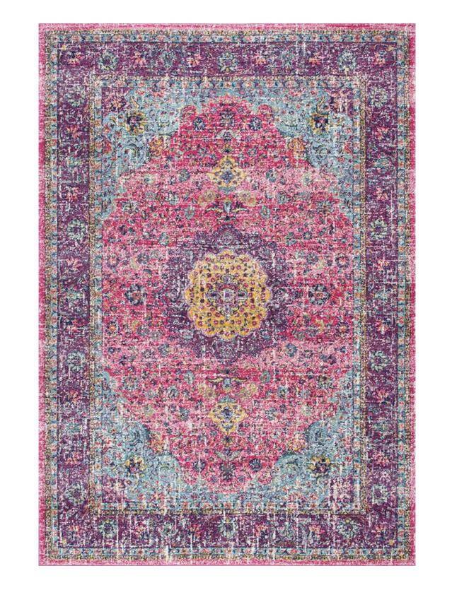 bright pink and purple area rug