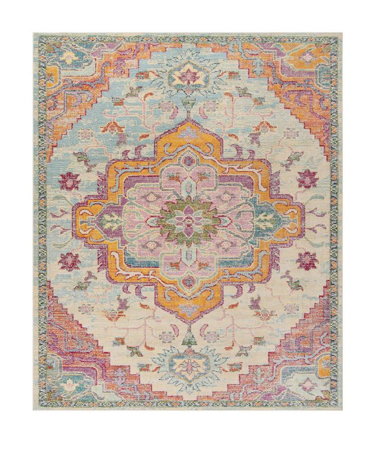 blue and fuchsia rug