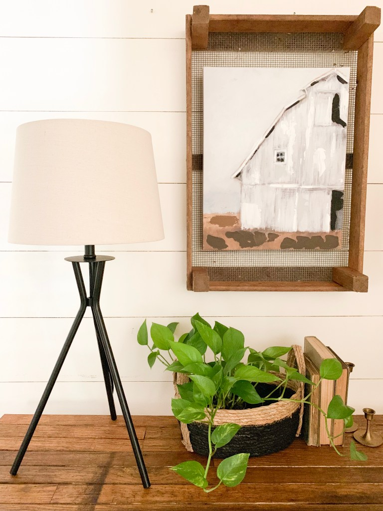 plant in basket and book on console table