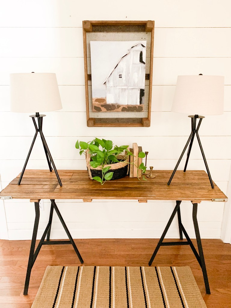 wood top console table with black metal legs