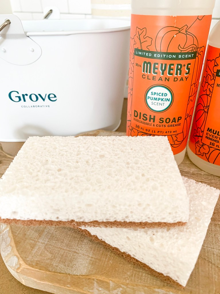 mrs meyers sponges and spiced pumpkin dish soap